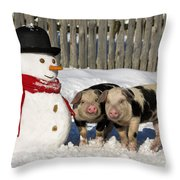 Curious Piglets And Snowman Throw Pillow
