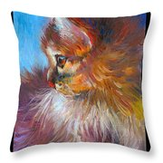 Curious Tubby Kitten Painting Throw Pillow