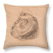 Curled Up Throw Pillow
