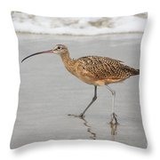Curlew In The Surf Throw Pillow