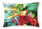 Curley Crotons Throw Pillow