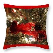 Curly Cardinal Throw Pillow