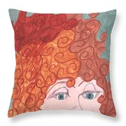 Curly Red Hair Throw Pillow