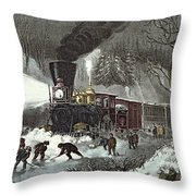 Currier And Ives Throw Pillow