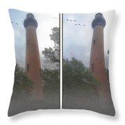 Currituck Beach Light Station - 3d Stereo Crossview Throw Pillow