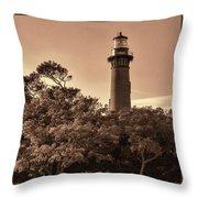 Currituck Beach Lighthouse - Sepia Throw Pillow