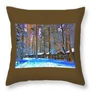 Curry Cabins Christmas Day Throw Pillow