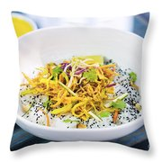Curry Sauce Vegetable Salad With Noodles And Sesame Throw Pillow