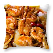 Curry Shrimp And Peppers On White Serving Plate Ready To Eat Throw Pillow