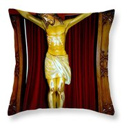 Curtains And Cross Throw Pillow
