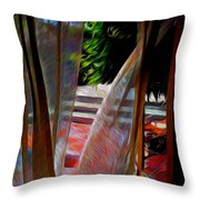 Curtains Blow Away And Back Again Throw Pillow