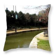 Curve In The Richmond Canal Throw Pillow