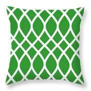 Curved Trellis With Border In Dublin Green Throw Pillow