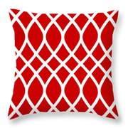 Curved Trellis With Border In Red Throw Pillow