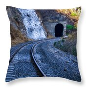 Curves On The Railways At The Entrance Of The Tunnel Throw Pillow
