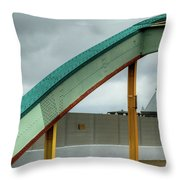 Curving Bridge Throw Pillow by Dennis Dame