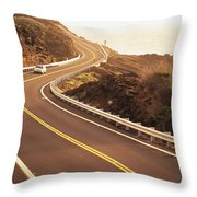 Curvy Oahu Road Throw Pillow