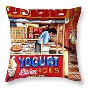 Custard Cart Throw Pillow