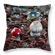 Cluster Of Toadstools  In Fairy Garden Throw Pillow