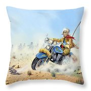 Custer On A Hog Throw Pillow
