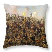 Custer's Last Stand From The Battle Of Little Bighorn Throw Pillow