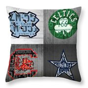 Custom 4 Team License Plates Sport Art No 1 Throw Pillow