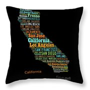 Custom Silhouette Art Print, Pop Art California Map, Modern Style Country Map, Country Maps For Home Throw Pillow