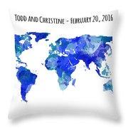 Custom World Map Throw Pillow