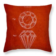 Cut Diamond Patent From 1873 - Red Throw Pillow