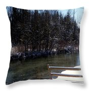 Cut River In Winter With Ducks Throw Pillow