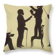 Cut Silhouette Of Four Full Figures 1830 Throw Pillow