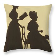 Cut Silhouette Of Two Women Facing Right 1837 Throw Pillow