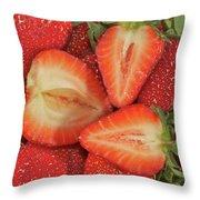 Cut Strawberries Throw Pillow