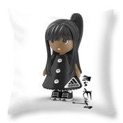 Cute 3d Girl On Shelf In Black Throw Pillow