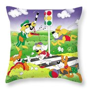 Cute Animals Crossing The Street Throw Pillow