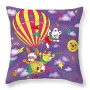 Cute Animals In Air Balloon Throw Pillow