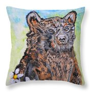 Cute Baby Black Bear Art Throw Pillow