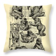 Baby Monkeys Playing Black And White Antique Illustration Throw Pillow