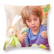 Cute Boy Enjoy Easter Holiday Throw Pillow