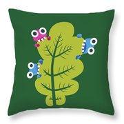 Cute Bugs Eat Green Leaf Throw Pillow