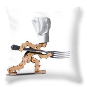 Cute Chef Box Character With Big Fork Throw Pillow