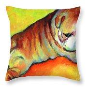 Cute English Bulldog Puppy Dog Painting Throw Pillow