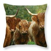 Cute Fluffy Cows Throw Pillow