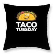 Cute Funny Taco Tuesday Smiling Taco Throw Pillow