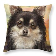 Cute Furry Brown And White Chihuahua On Orange Background Throw Pillow