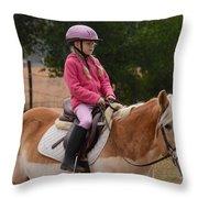 Cute Girl On Horse 2 Throw Pillow