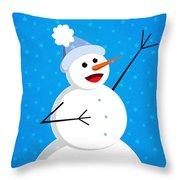 Cute Happy Snowman Throw Pillow