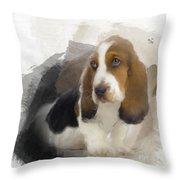 Cute Little Basset Artesien Normand Puppy Throw Pillow
