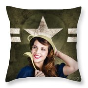 Cute Military Pin-up Woman On Army Star Background Throw Pillow by Jorgo Photography - Wall Art Gallery