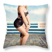 Cute Pinup Girl Looking Surprised On Beach Pier Throw Pillow